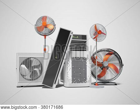 3d Rendering Orange Fans Air Conditioners And Portable Air Conditioners Gray Background With Shadow