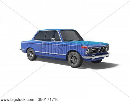 3d Rendering Blue Classic Car With Tinted Windows On White Background With Shadow