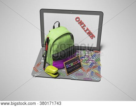 3d Rendering Concept School Online On Gray Background With Shadow