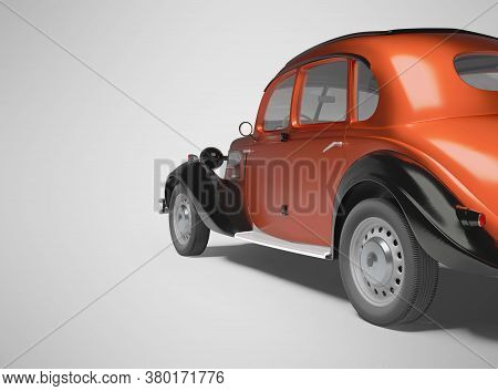 3d Rendering Of Classic Red Passenger Car On Gray Background With Shadow Back View