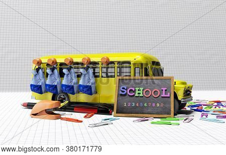 3d Rendering Concept School Accessories Ride School Bus On White Background With Shadow