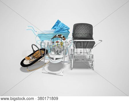 3d Rendering Set For Sleeping Baby, Two Baby Strollers For Walk And Portable Bed On Gray Background