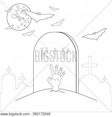 Outlined Zombie Hand In The Grave. Vector Cemetery Illustration In Doodle Style. Halloween Night Col