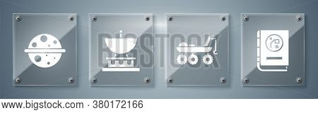 Set Book By Astronomy, Mars Rover, Satellite Dish And Planet Saturn. Square Glass Panels. Vector