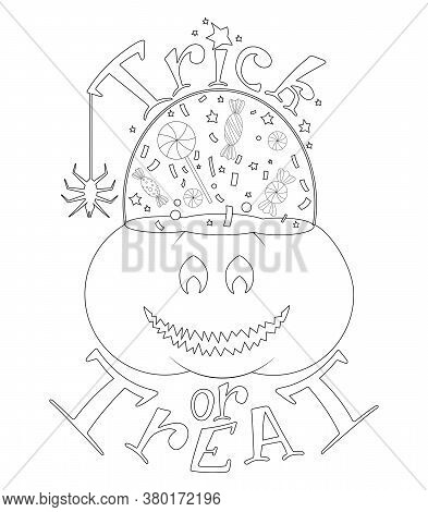 Outlined Pumpkin Halloween Bucket With Sweets. Vector Jack O Lantern Illustration In Doodle Style. T