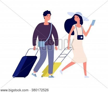 Happy Tourists. Summer Vacation, Weekend Travel Couple With Suitcases. Flat Woman Man With Bags Vect