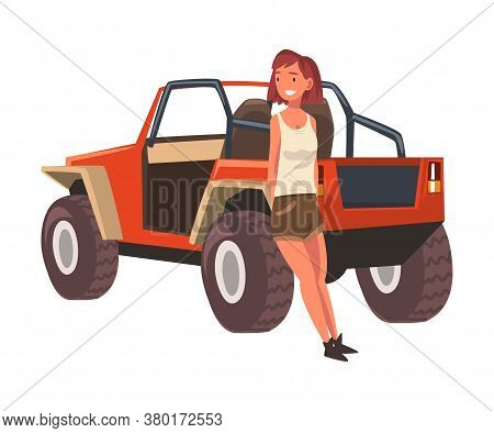 Young Woman Standing In Front Of Jeep Car Suv, African Safari Travel, Tourist Girl Exploring Fauna O