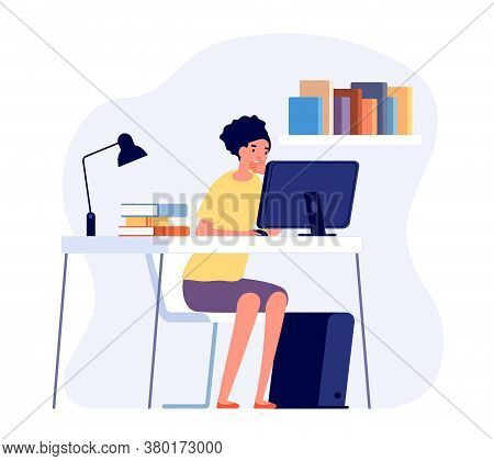 Studying Process. Student Reading At Desk, Online Learning. Girl Study Homework On Computer. Science