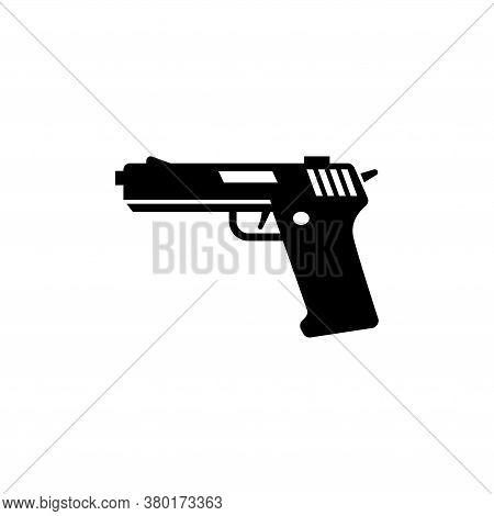 Gun Silhouette, Army Handgun, Pistol. Flat Vector Icon Illustration. Simple Black Symbol On White Ba