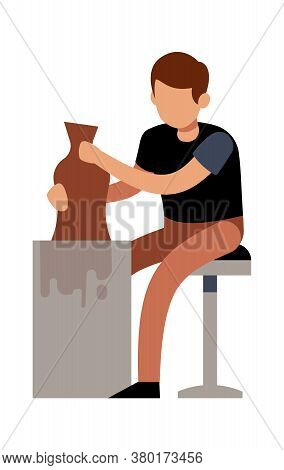 Man Making Pots With Clay. Male Character Handcrafted Ceramic Vase In Pottery Studio Or Workshop, Ta