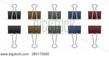 Realistic Paper Clips. Push Pins, Isolated Gold Black And Color Office Accessories. 3d Clamps, Isola
