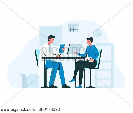 Woman At The Doctors Appointment. Vector Concept Illustration Of A Smiling Girl And Male Doctor Sitt