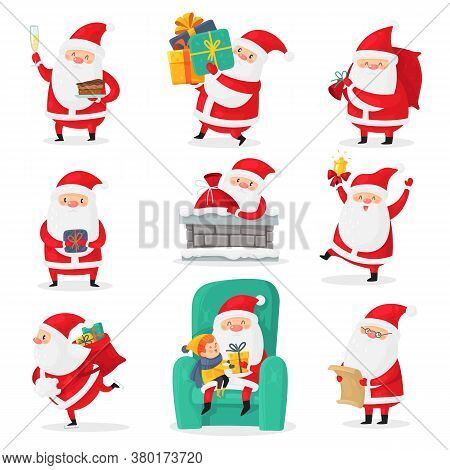 Cute Santa. Christmas Santa Clauses With Funny Emotions And New Year Gifts For Children, Festive Hap