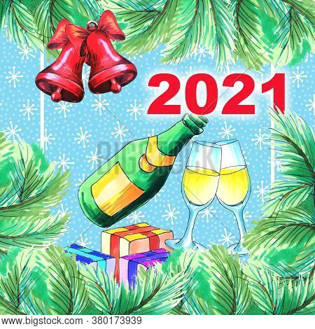 New Year's Card Design Of The Year 2021. New Year's Map With A Place For Your Text In Snow Backgroun