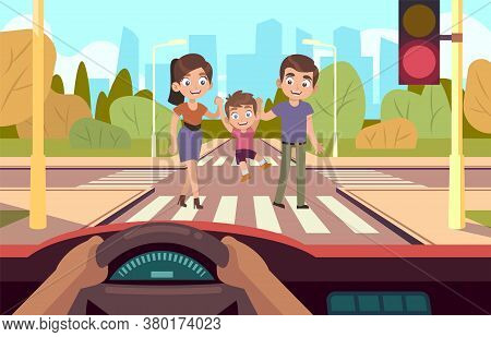 Crosswalk. Family Safety Crosses Road, Observing Traffic Rules, Mother Father And Little Son Cross R