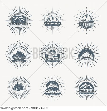 Mountain Emblems. Mountains Set Of Monochrome Vintage Badges, Mountaineering Camp And Adventure Tour