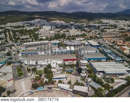 Thessaloniki, Greece - August 09 2020: Aerial Drone View Of Empty International Trade Tif Fair. Day