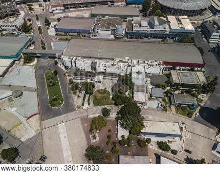 Thessaloniki, Greece - August 02 2020: Aerial Drone View Of Empty International Trade Tif Fair. Day