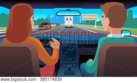 People Inside Car. Driver And Passenger Ride On Road To City, Woman Driving Auto On Highway Using Na