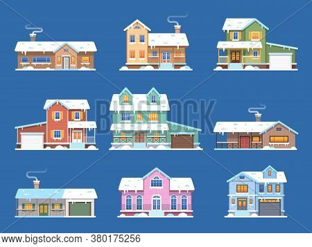Winter Houses. Homes In Snow, Cottages And Townhomes With Garage And Terrace, Front View Snowy Build