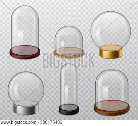 Glass Domes. Realistic Glossy Round Transparent Dome With Tray, Food Storage Container, Empty Sphere