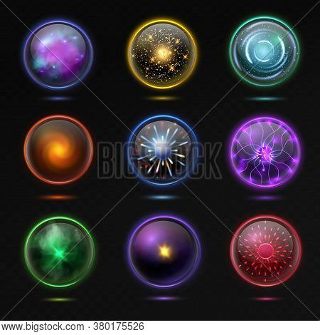 Magical Crystal Orbs. Glowing Energy Sphere And Shiny Lightning, Spiritual Round Magnificent Glass G