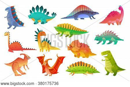 Cute Cartoon Dinosaur. Funny Dinosaurs Wild Animal Dragon And Nature Reptile, Childish Bright Prehis