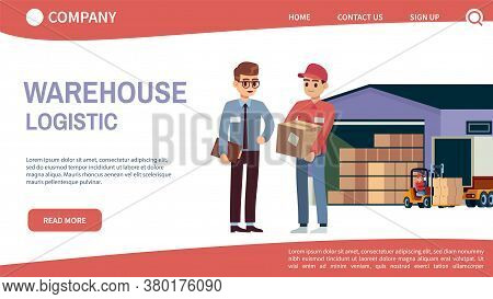 Landing Page Concept With Theme Warehouse And Logistics. Logistic Transportation And Forklift, Truck