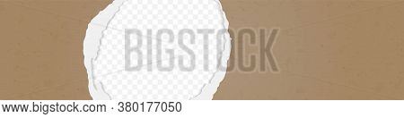 A Hole In The Ripped Recycled Paper Background. Cardboard Or Paperboard Kraft Paper Frame
