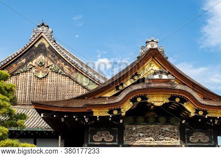 Nijo Castle And Gate Roofs In Kyoto, Japan. It Is One Of The Seventeen Historic Monuments Of Ancient