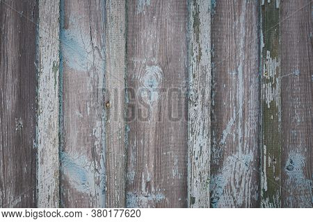 Old Weathered Wooden Wall Texture Of Turquoise Color. Aged Shabby Wooden Plank Fence.