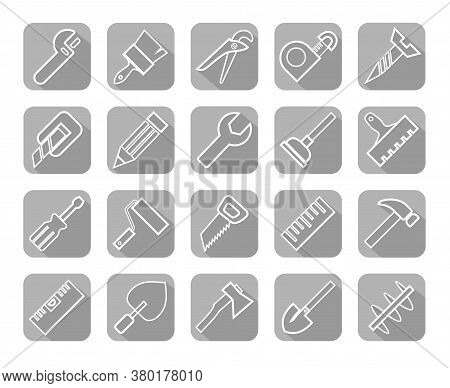 Hand Tool, Construction, Icons, Gray, Outline. Thin Linear Drawing. White Icons On A Gray Background