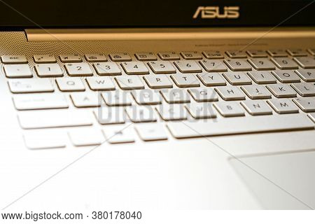 Shanghai - May 17, 2016: Asus Laptop Keyboard, Closeup Digital Technologies, It Concept, Copy And Co