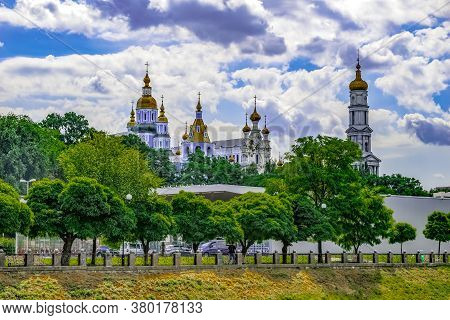 View Of The Domes Of The Pokrovsky Monastery And Holy Dormition Cathedral From Lopan River Embankmen