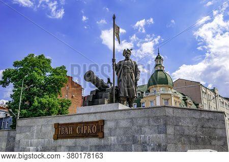 Kharkiv, Ukraine - July 20, 2020: Statue Of Ivan Sirko On Bursatsky Descent In Kharkov. Bronze Monum