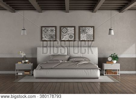 Minimaalist Double Bed In A Old Room With Wooden Ceiling And Hardwood Floor - 3d Rendering