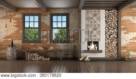 Rustic Style Room With Old Fireplace With Wooden Bench Under Windows - 3d Rendering