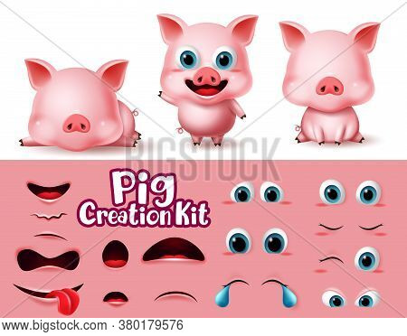 Pigs Animal Characters Creator Vector Set. Pig Animals Character Eyes And Mouth Editable Create Kit