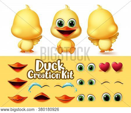 Ducks Creation Animal Characters Vector Set. Duck Animals Editable Character Eyes And Mouth Kit With
