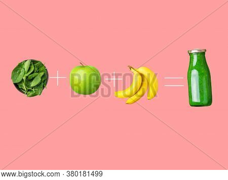 Glass Bottle With Green Smoothie Ingredients Fresh Raw Spinach Apples Bananas Arranged In Equation O