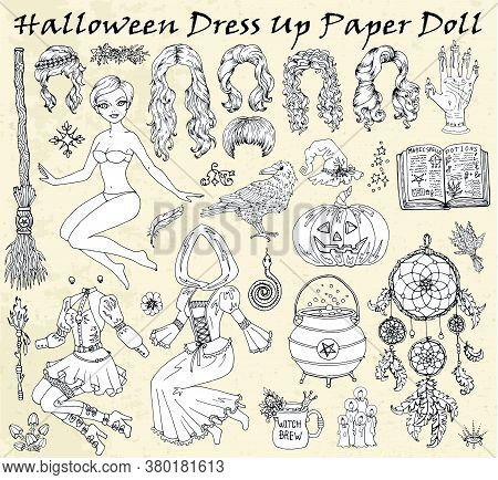 Halloween, Vector, Set, Collection, Object, Symbol, Traditional, Sticker, Clip Art, Doodle, Scary, S
