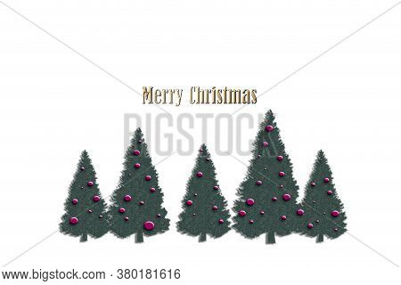 Merry Christmas And Happy New Year Design. Horizontal Card With Christmas Trees On White Background.