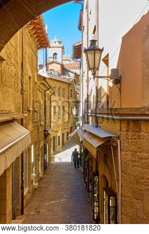Picturesque street in the City of San Marino, The Republic of San Marino