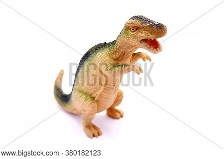 Baby Dinosaur Toy Close Up Isolated On White Background