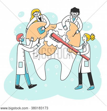 Happy Dentists Cleaning Big Tooth With Toothbrush Flat Illustration. Doctors Diagnosing Caries And C