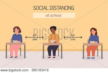 Social Distancing At School Concept Illustration. Kids Sitting In The Classroom With Books On The De