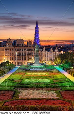 Brussels, Belgium. Cityscape Image Of Brussels With City Hall And Mount Of The Arts Area At Sunset.
