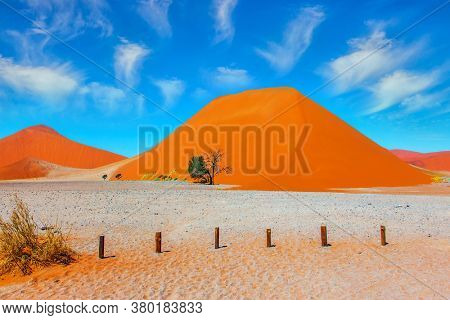 Namib Naukluft desert. Grand trip to Africa. Dead lake Sussussflay. Majestic huge orange dunes. Grandiose paintings of sand dunes. The concept of active, exotic, extreme and photo tourism