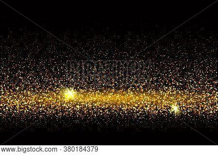 Festive Background With Falling Glitter Confetti, Golden Dust On Black. Sparkling Glitter Border, Ve