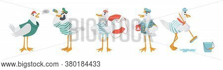 Vector Sailor Seagulls Characters. Funny Birds In Striped T-shirts With Lifebuoy, Binoculars, Mop An